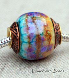 Lampwork Big Hole European Charm Style Organic Bead, SRA. $28.00, via Etsy.