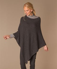 Repeat Cashmere Poncho - Donkergrijs Mêlee