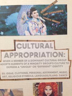 """(3 of 10) Trying on Race: Cultural Appropriation: when a member of a dominant cultural group adopts elements of a minority group's culture to express a """"unique"""" or """"different"""" identity. [click on this image to find a short video and analysis that draws on footage of Miley Cyrus twerking to explain what bell hooks means by """"Eating the Other""""]  Artist: Melina (http://oystergirlrhymes.tumblr.com/post/82954374529/this-semester-i-went-to-the-white-privilege)"""