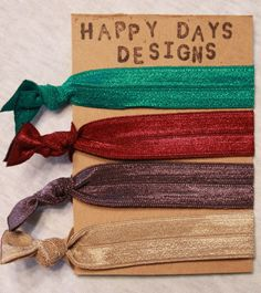 FOE (Fold Over Elastic) Hair Ties Set of 4 by Happy Days Designs - Lots of Colors!