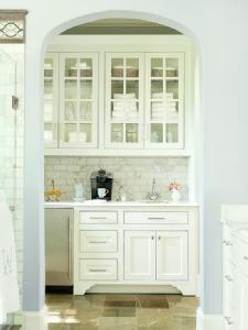 BHG Coffee bar & linen nook in bathroom. YES please!!!