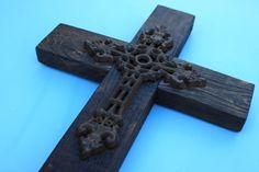 Rustic Wooden Cross, Cast Iron Inset. Natureinspiredcrafts via Etsy.