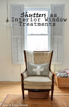 Shutters as Window Treatments - Sew a Fine Seam in Shutter Gray, Grain Sack & White Wax