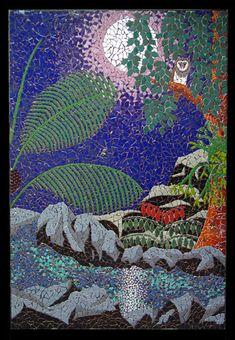Rainforest scene under moonlight featuring an owl & moolit stream and plants. Rainforest Moon mosaic mural in ceramic tiles by Brett Campbell Mosaics