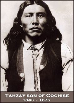Tahzay, son of Cochise, and elder brother of Naiche. Tahzay succeeded his father Cochise as chief of the Chiricahuas when Cochise died in 1874. As part of a delegation of Apache's to the white man's capitol tragedy struck. Tahzay developed pneumonia and, though given all available medical attention, died within a few days. Tahzay was buried in the Congressional Cemetery. Born 1843. Died 26-9-1876.