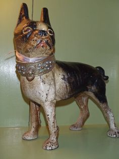 ANTIQUE VICTORIAN ERA HUBLEY CAST IRON BOSTON BULL TERRIER DOG DOORSTOP
