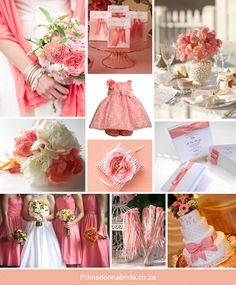 Coral and white wedding theme