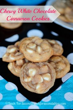 Soft and Chewy Cinnamon Cookies - like snickerdoodles...but BETTER! #cookies #whitechocolate #cinnamon