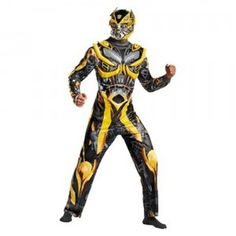 The Transformers: Age of Extinction Bumblebee Deluxe Adult Costume comes with a yellow, black, and gray jumpsuit with chest piece and full character helmet.