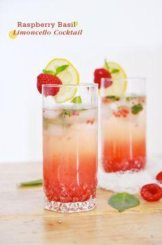 Raspberry basil limoncello cocktail