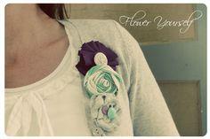 Vintage Inspired Fabric Brooch Flower Pins