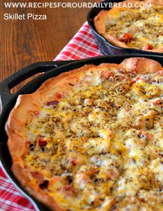 Cast Iron Skillet Pizza made with Frozen Rolls. Easy and Delicious! http://recipesforourdailybread.com/2014/01/10/cast-iron-deep-dish-skillet-pizza/ #pizza #frozenrolls #skilletpizza