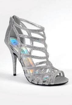 "High heel zipper glitter sandal features:• Zipper back closure• Non skid sole • 4"" high heel  • Padded insole • Matching glitter heel• Medium width only"