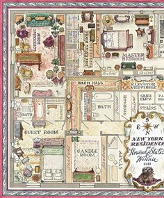 Hand-drawn partial floorplan of Howard Slatkin's apartment, one of the endpapers in his book, Fifth Avenue Style.