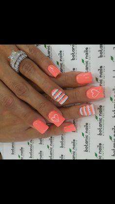Spring nail art! Nail art design! Nails! Peach Nails!