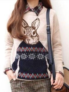 Bunny Slope Fashionista Rabbit Fair Isle Slouchy Sweater Chelsea Verde S | eBay $66