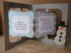 Raquel Mason using the Accordion Album, Frame & Label, Bracket die, and the Labels & Stitched Frames Framelits - Raquel's Stampin' Blog: Accordian Snowman