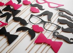 12 Photo Booth Props Mustache on a Stick -  Wedding Party Mustache  Props - Set of 12. $9.50, via Etsy.