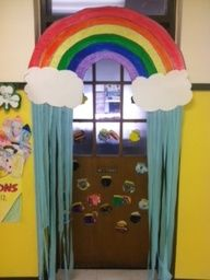 Here is a colorful idea for a March classroom door display.  Its hard to see, but the door has pots of gold on it.  When it is April, this teacher is changing the pots of gold to raindrops and she has quickly changed from a St. Patricks Day theme to an April Showers theme.