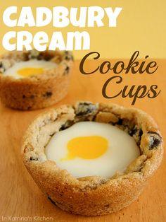 Cadbury Cream Cookie Cups Recipe - Homemade Cadbury Cream tucked inside a delicious chocolate chip cookie cup