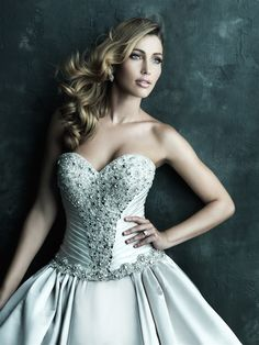 Allure Bridals : Couture Collection : Style C240 : Available colours : White/Silver, Ivory/Silver