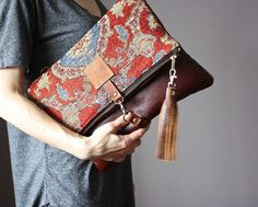 Tapestry and Leather Clutch