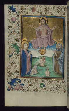The Last Judgment, illuminated Manuscript, book of hours in Dutch; Christ sits on his rainbow throne; Walters Manuscript W.918, fol. 128v. (Walters Museum)