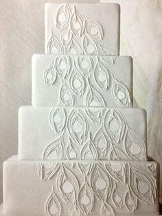 White peacock feather cake - elegant simplicity.