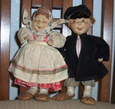 Nice Antique Vintage Tanika & Vanika Russian Soviet Union USSR Cloth Dolls 30s