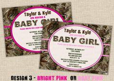 PINK Hunting Camo Baby Shower Invitation - Design 4 - Digital DIY Printable. $15.00, via Etsy.