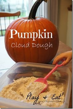 Pumpkin Cloud Dough Recipe to Play and EAT!  #preschool #fall #play