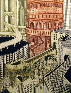 Artist: John Ross. Title: City Ancient. Description: Collagraph