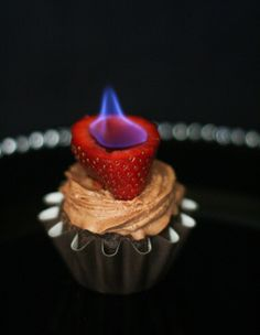 Sprinkle Bakes: Chocolate Cupcakes with Flaming Strawberries