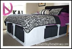 DIY Storage bed frame.  Just what I've been looking for. Link at the bottom of the post for measurements for all bed sizes.