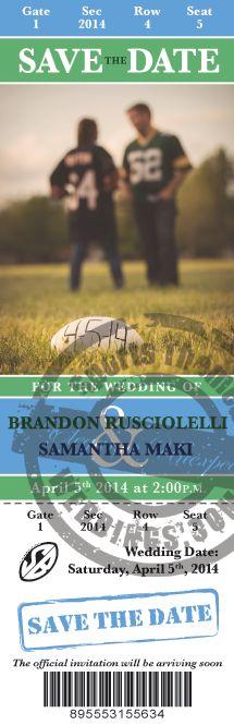 Save the Date Wedding Tickets for your football themed wedding ... #footballwedding #stwdotcom