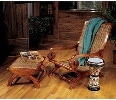 British Plantation Chair and Footstool