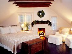 Cozy White Holiday Bedroom