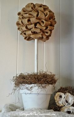 Burlap! From cottage at the crossroads blog! Could even apply this same idea to a foam wreath!!!