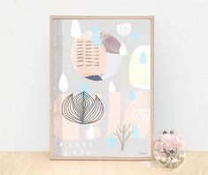 Large A3 Scandinavian Art Print 58 Collage Peach and by honeycup, $38.00