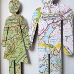Cute idea!  Use maps of where you grew up.