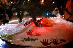 Christmas Tree Skirt Keepsake-Every year put your kids handprints on a plain tree skirt.