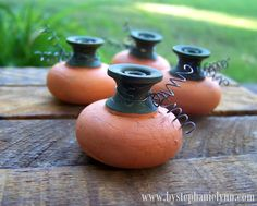 Handmade Door Knob Pumpkin Patch - perfect craft for repurposing old knobs you are no longer using #FallDIY ~ @bystephanielynn