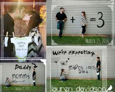 """Pregnancy reveal photo ideas. 1+1=3, painting """"We're Expecting"""" on wall, """"Coming Soon"""" on a onesie. Cute, unique ideas for photo shoot on revealing pregnancy. Maternity reveal pictures."""