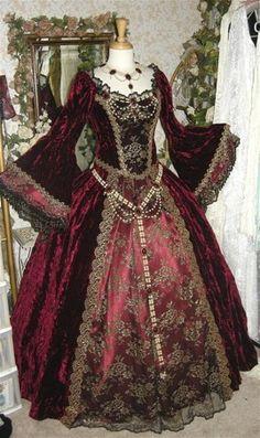 Elizabethan Garnet Red Reproduction Frock - Velvet on silk embroidery?