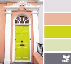 chartreus door, green doors, chartreuse, color palettes, design seeds, color combos, color schemes, front doors, colour palettes