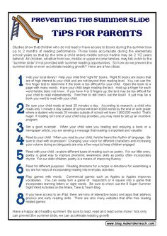 Free parent handout- Preventing the Summer Slide- 8 Tips for Parents