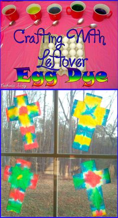 Easy Easter cross craft- all you need is scissors, paper towels, and leftover egg dye. The perfect thing to do when you run out of eggs! :-)