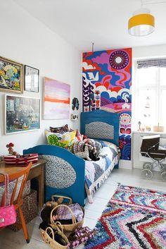 YS2B9460 by Kenziepoo, via Flickr wall art, rug, kids room design, color, kid rooms, mural, focus walls, bohemian style, girl rooms