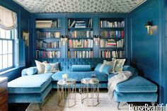 Blue blue blue and then more blue #bookcases #color @Stylebeat Marisa Marcantonio Marisa Marcantonio