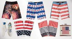 Patriotic swimwear for guys.